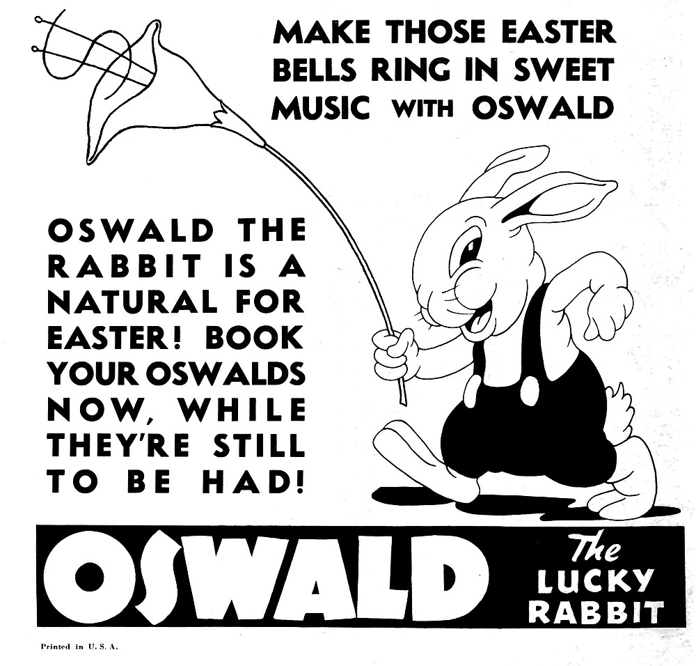 """Uncle Walt's first successfully merchandisable character, and the only one the animation giant let slip through his fingers. Oswald was created in 1927 by Disney and Ub Iwerks to be distributed by Universal Studios. Disney didn't own the rights to the character and after a request for a raise was met with a 20% pay cut, he bolted. Disney went on to shorten Oswald's ears, straighten his tail, and call him Mickey while the rabbit was left in the care of Woody Woodpecker's future papa, Walter Lantz. """"Universal Weekly,"""" March 21, 1936."""