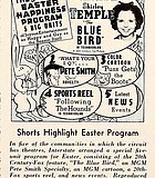 """Shirley Temple headlines Interstate Theatres' """"Easter Happiness Program."""" """"Showmen's Trade Review,"""" April 13, 1940."""