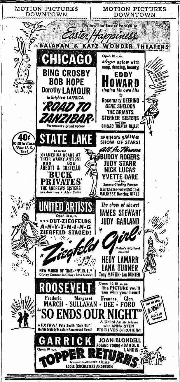 """John Cromwell's uniquely depressing """"So Ends Our Night"""" is the only downer in this otherwise peppy lineup of music and comedy. """"The Chicago Tribune,"""" April 13, 1941."""