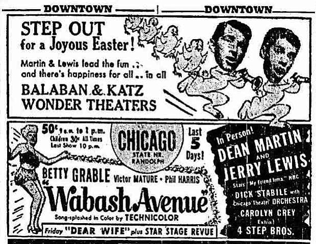 """Funny bunnies, Dean Martin & Jerry Lewis, pull out all the hops for their in-person Easter extravaganza. """"The Chicago Tribune,"""" April 9, 1950."""