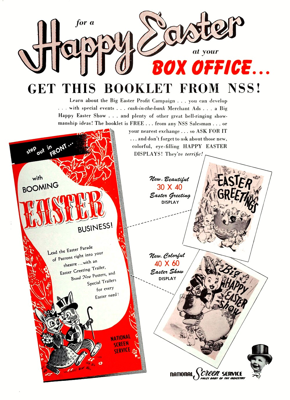 """National Screen Service's instructional booklet advises exhibitors on how to put cottontails in seats. """"The Film Bulletin,"""" March 24, 1952."""