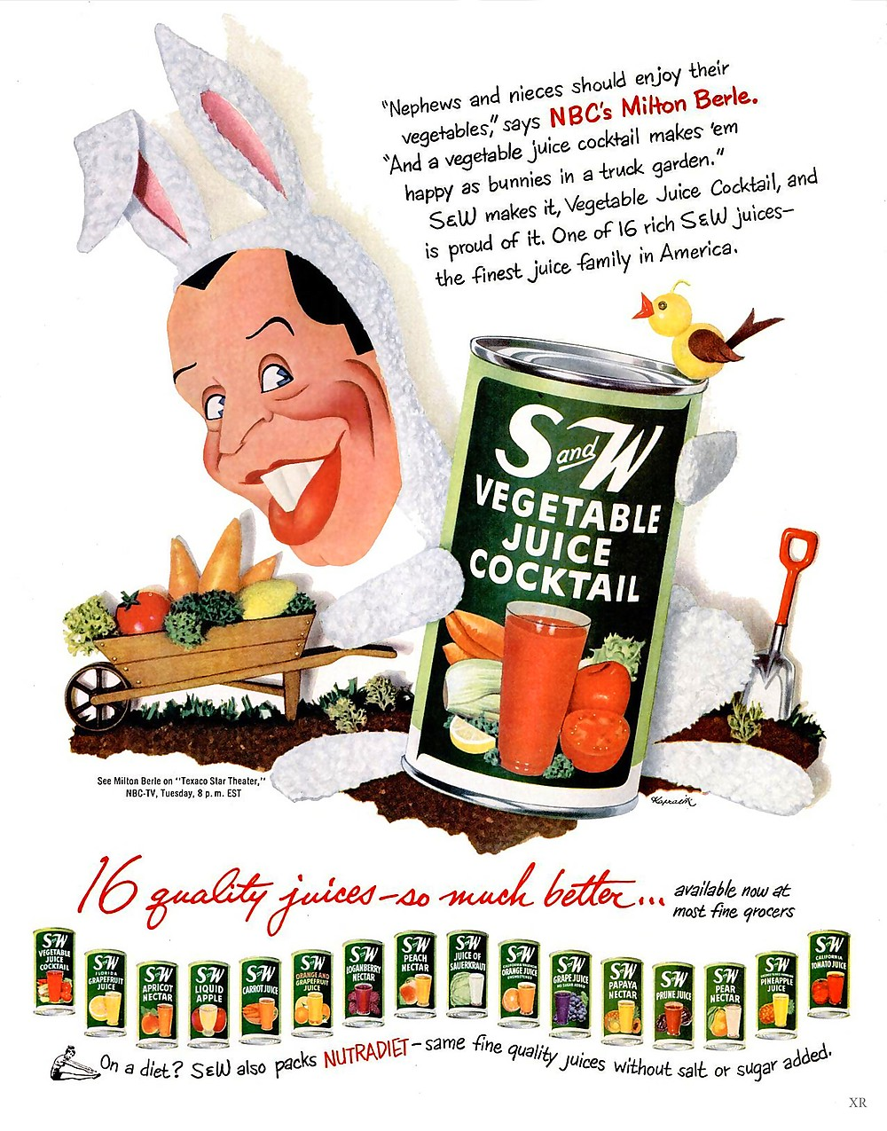 Milton Berle for Straight & Wide Vegetable Juice Cocktail. This 1952 ad was designed by the inimitable, Jacques Kapralik.