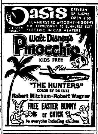 """Easter means Pinocchio, Mitchum, and a chance to turn your car into a hutch. """"The Chicago Tribune,"""" April 22, 1962."""