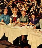 "A 24 carrot backlot brunch: (L to R) Nison Tregor, gossip columnist (and ""Modern Screen"" ..."
