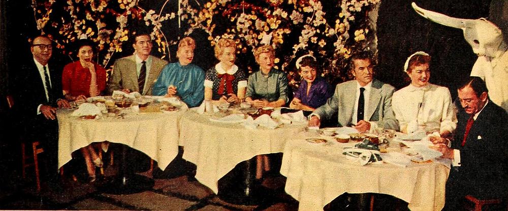 "A 24 carrot backlot brunch: (L to R) Nison Tregor, gossip columnist (and ""Modern Screen"" hostess) Pamela Mason, Dana Andrews, Shelley Winters, Deborah Kerr, June Allyson, Joan Evans, Fernando Lamas (looking marvelous), Esther Williams, Donnie Darko, and Michael Silver. ""Modern Screen,"" April 1953."