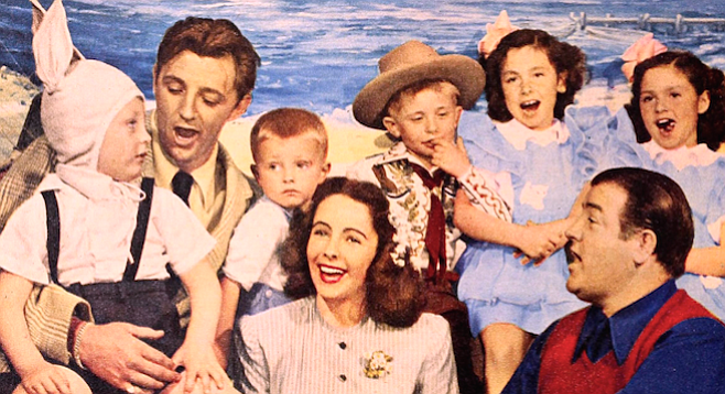 (L to R) Jim, Robert, and Chris Mitchum, Elizabeth Taylor, Buddy, Carol, and Patty  Costello, and their pop, Lou. Modern Screen, May 1946.