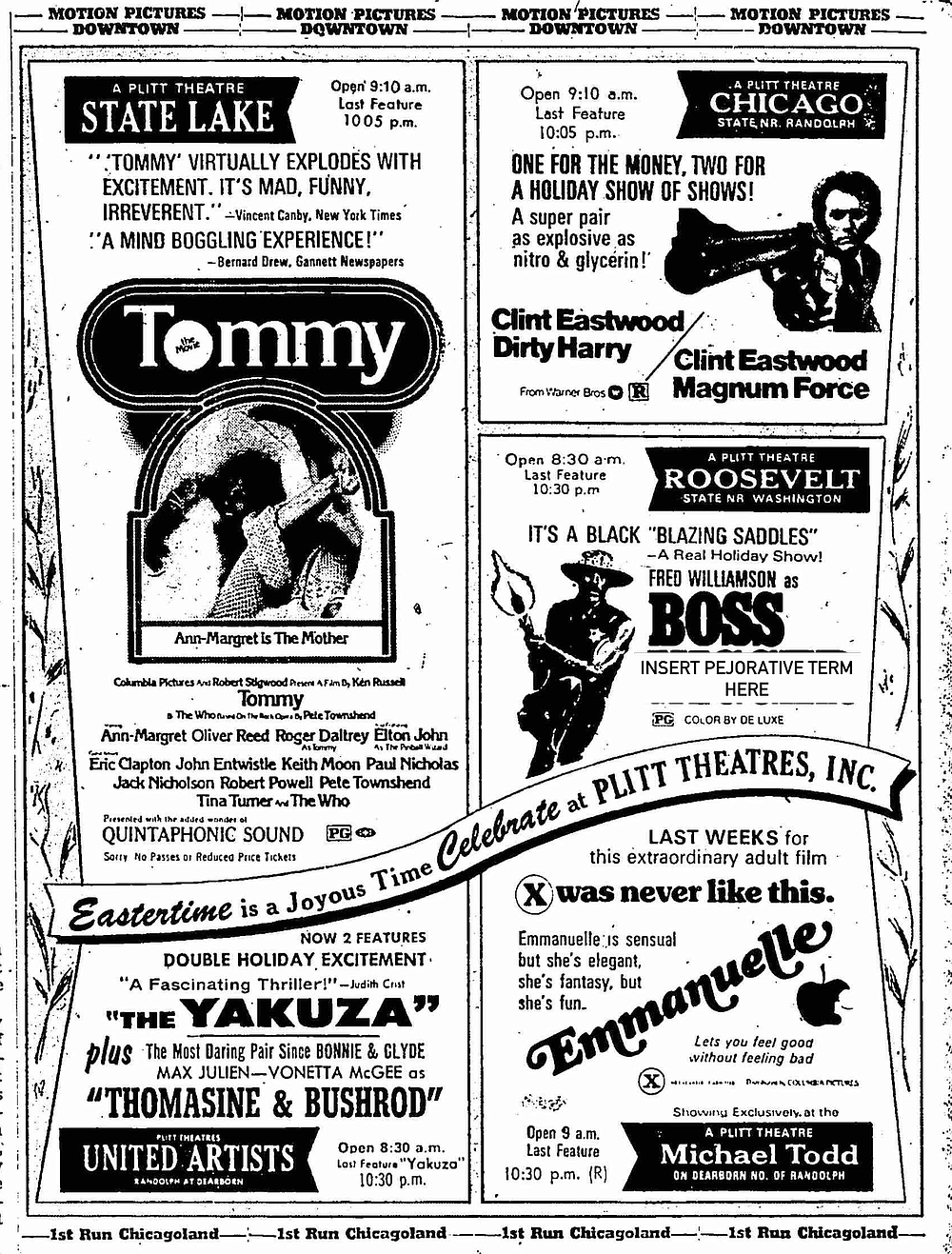 """Magnums, flesh, karate, blaxploitation, and Quadrophonic sound! It truly was a joyous time. """"The Chicago Tribune,"""" March 30, 1975."""