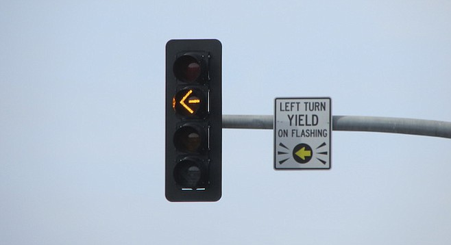 """It's a """"protective/permissive"""" signal, says a city traffic engineer."""