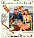 Bogie & Bacall for Robt. Burns' Cigarillos. Here's looking at you, cancer!