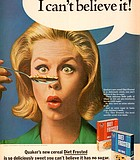 """Harder to swallow than two Darrens. Elizabeth Montgomery, star of TV's """"Bewitched,"""" for Quaker's Diet ..."""