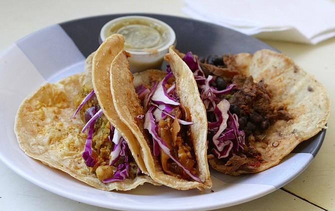 Chickpea, BBQ cauliflower, and vegan birria tacos for a $1 each