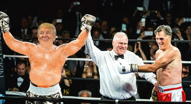 """""""I am the greatest!""""  Republican National Committee Chairman Buford Lunk grimaces in apparent pain as he raises the gold-lamé glove of a victorious Donald Trump while simultaneously pushing pleading challenger (and former champ) Mitt Romney out of the ring. Romney would later complain that Trump did not actually throw any punches during the bout, but merely strutted the ring and pounded his chest for the wildly enthusiastic crowd.  """"It's simply inconceivable that I could ever lose to man who is so full of himself that he looks ready to burst his seams,"""" protested the former boxer, governor, and presidential candidate. """"Just look at that bloat! And so soft where it counts — on the issues!""""  The judges' decision, however, was unanimous. A jiggling, swaggering Trump, meanwhile, responded that he was impressed at how much fight he found in Romney, """"especially considering how little of it the American people saw back in 2008."""""""