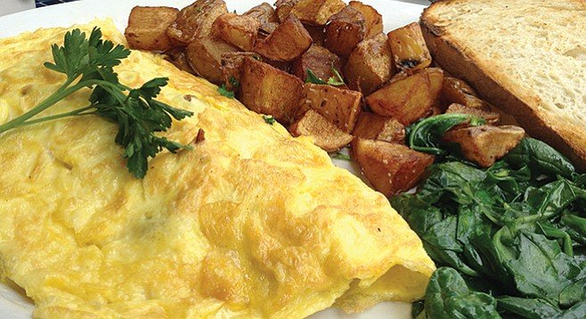 The meat-lover's omelet. The great discovery is sautéed spinach.