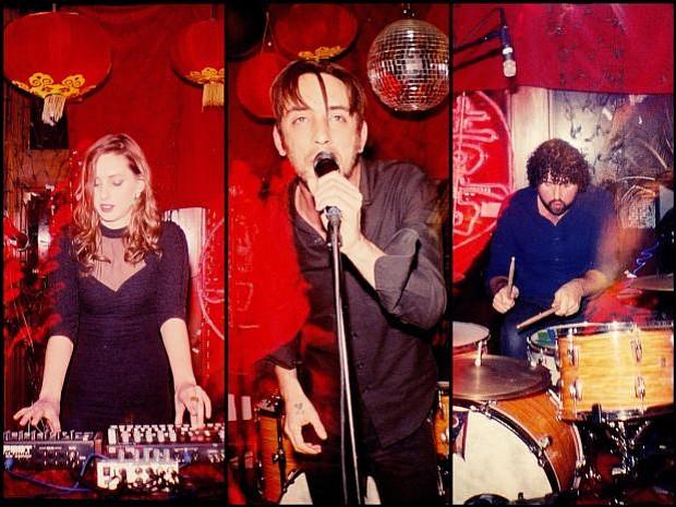 Dan Boekner's melodic synth-rock trio Operators sets up at Soda Bar Sunday night.