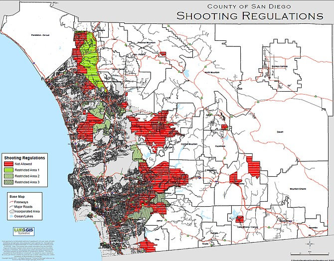 """The sheriff's department """"shooting map"""" clearly shows OB and PL to be in areas (gray shading) where discharging an air gun is not allowed."""