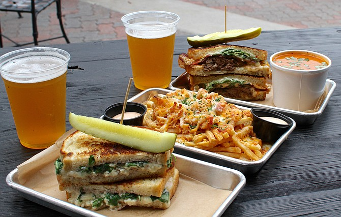 Lunch for two: Lobster fries, RB sandwich, Carnivore Sandwich, tomato soup