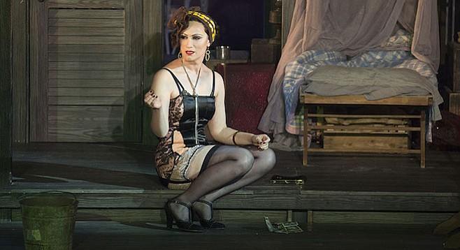 Eden Espinosa as Sadie Thompson in the world premiere musical Rain.