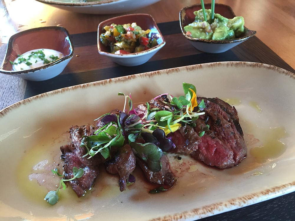 Steak salad, all about the steak, with accoutrements