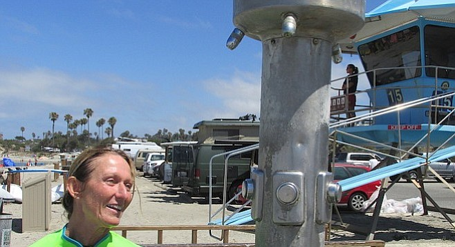Almost nine months after this photo was taken, Yvonne (at Cardiff State Beach) will have to wait a bit longer for that shower