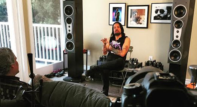 Jason Blackmore (back to camera) interviews Tommy Victor from Danzig.