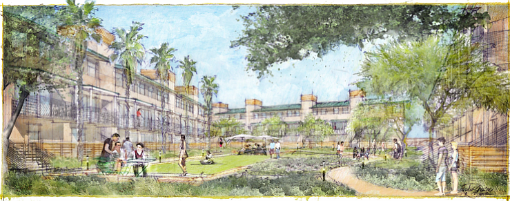 Illustration of 66-unit apartment complex in La Mesa Crossroads shopping center