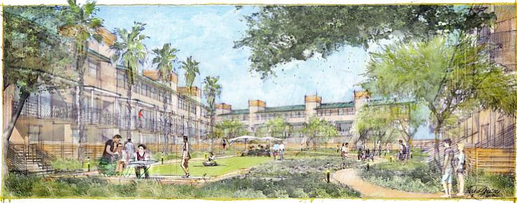 Illustration of 66-unit apartment complex in La Mesa Crossroads shopping center