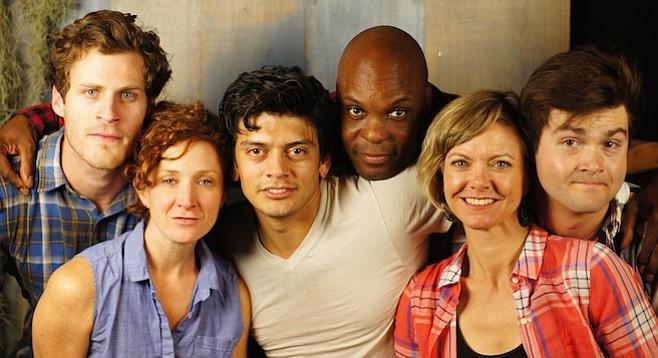 The cast: Connor Sullivan, Dana Fares, Richard Johnson, Laurence Brown, Lisel Gorell-Getz, and Charlie Gange