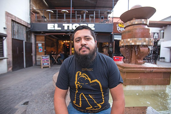 Juan Bojorquez of Ley Seca in front of El Tigre, one of the several  tap rooms at which he sells his homebrew.
