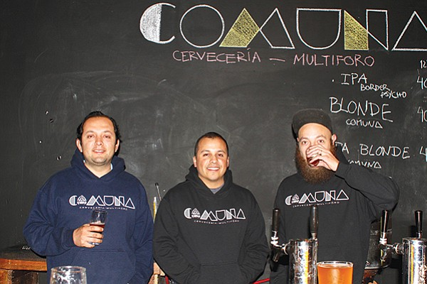 "Mario Delgadillo with his partners Francisco Tamayo (""Pinche Paco"") and Rolando Samper of Comuna Brew"