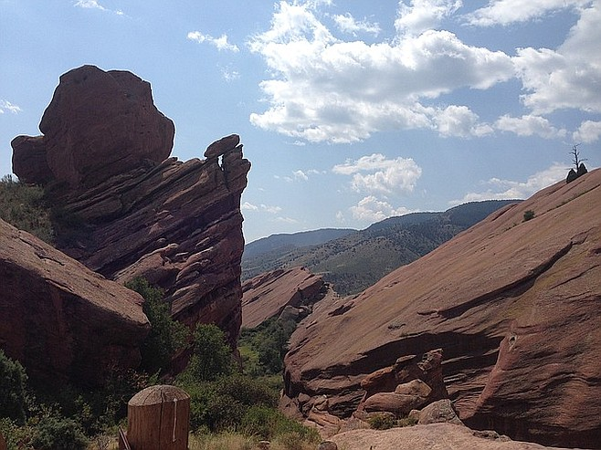 Taking in the scenery at Red Rocks Amphitheater, a half-hour drive from downtown.