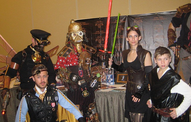 Dude Vader (in the middle) with other steampunk cosplayers https://www.facebook.com/DudeVaderCanole