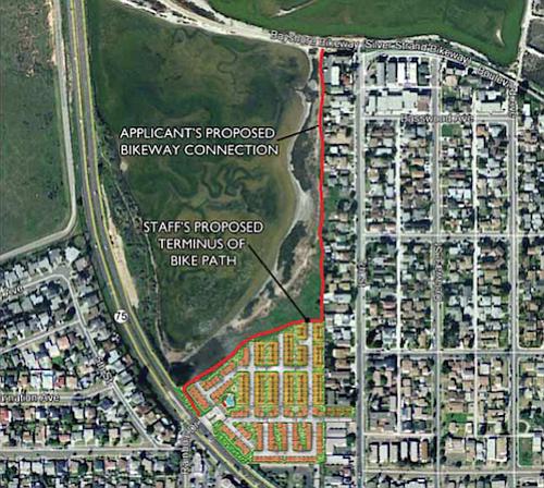 Map showing development area and Bayshore Bikeway access