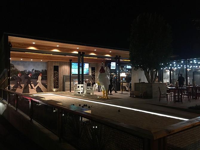 Crack Shack patio at night