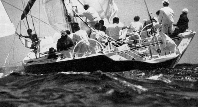 """Il Moro di Venezia. """"Marlon tried to photograph Il Moro as she was being towed around a mooring buoy on her way to the race course off Point Loma."""" - Image by Robert Burroughs"""