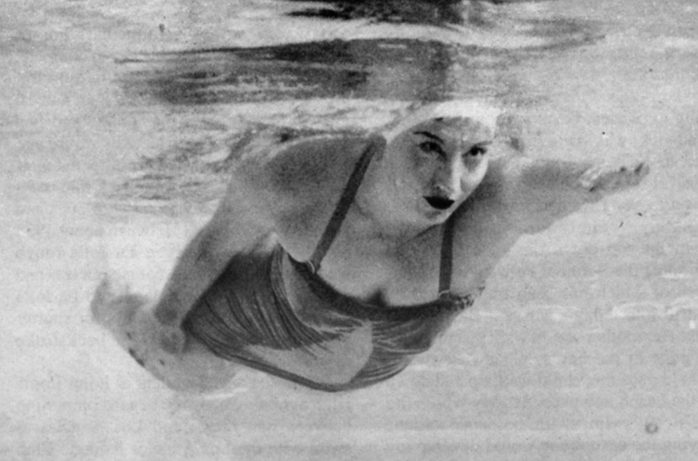 Florence Chadwick, Las Vegas, 1952. Covered with six pounds of grease, Chadwick set out in 1960 to become the first woman to swim the twenty-two-mile-wide North Channel of the Irish Sea. Her crew informed her later that they could tell she was freezing. A crewmember jumped in the water to push her into the boat. She refused to go.