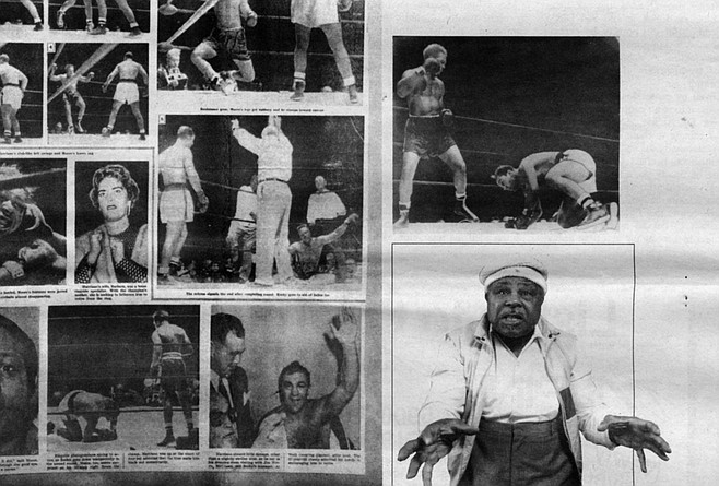 Moore's scrapbook. The pictures are grainy black-and-white blowups, the kind of old boxing photos in which the white fighters have pale spud bodies. Moore knocking Yolande Pompey senseless in London. Moore standing over a decked Rocky Marciano.