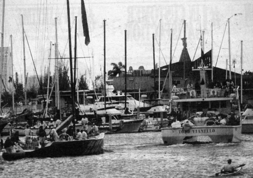 """Moro di Venezia towed into San Diego Bay. """"He hadn't been at the buoy anchor chain more than 15 minutes when here comes a big powerboat with a flying bridge and Il Moro under tow."""""""
