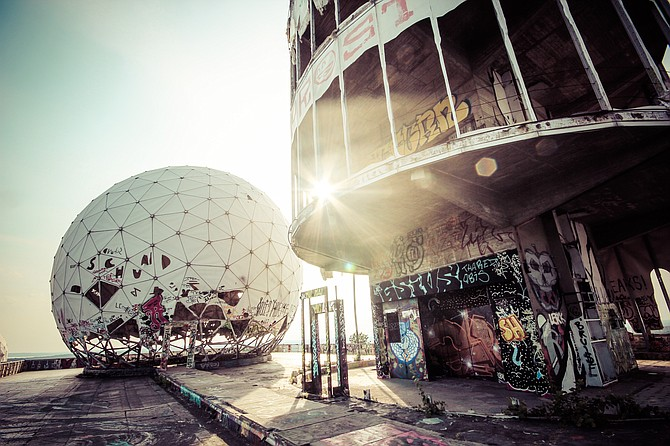 An abandoned World War 2 spy station in Berlin known as 'Teufelsberg', which translates to 'Devil's Mountain'
