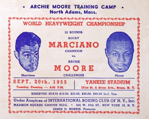 Rocky Marciano vs. Archie Moore, Sept. 20, 1955. Although Moore lost that 1955 heavyweight title fight to Marciano in a ninth-round knockout, boxing enthusiasts still debate the match.