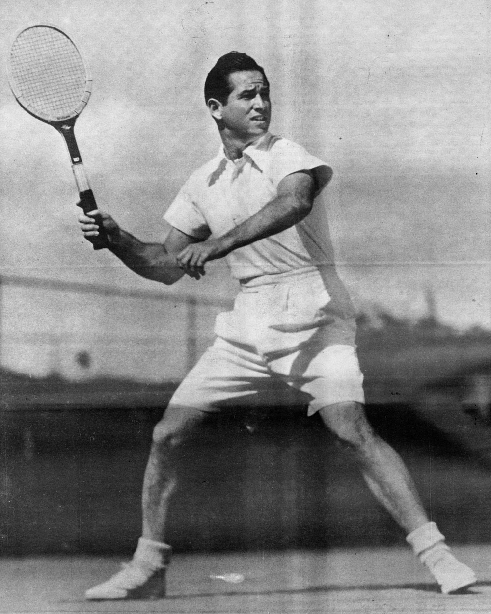 "Bobby Riggs, circa 1940. ""The grass-court circuit started at the Nassau Bowl on Long Island, then we went to Boston for the Longwood Bowl, then to Seabright, then to Southampton, then to Rye, then to Newport, then the national double at Forest Hills — """