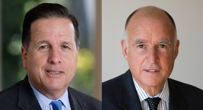 Michael Aguirre and Jerry Brown