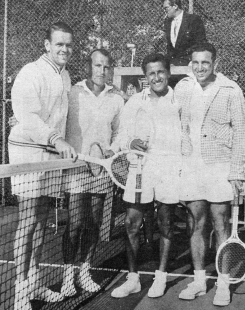 """Jack Kramer, Bill Rodgers, Segura, Don Budge. Said Segura about Kramer: """"He'd go right after my weaknesses. He'd pound my backhand, then make me try to pass him."""""""