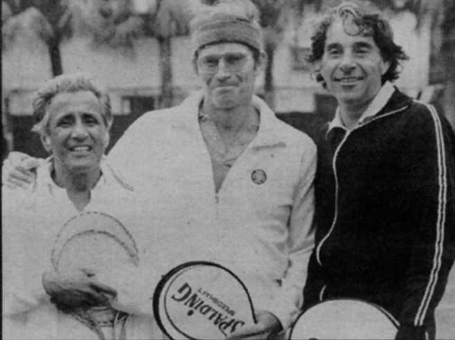 Pancho Segura with Charlton Heston and Pancho Gonzalez. Gonzalez was often moody and uncooperative with promoters and even his fellow players. Segura was able to cajole him into enjoying and appreciating the sport.