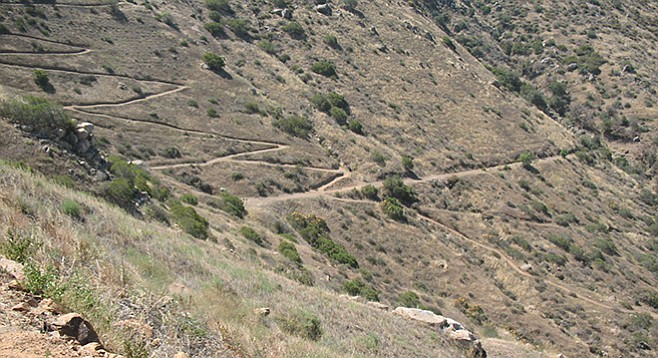 The zigzag trail ends at the old Flume Trail