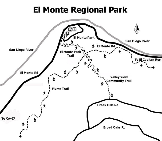 El Monte Regional Park trail map