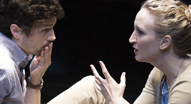 Christian Coulson stars as Roland and Victoria Frings as Marianne in Nick Payne's Constellations.