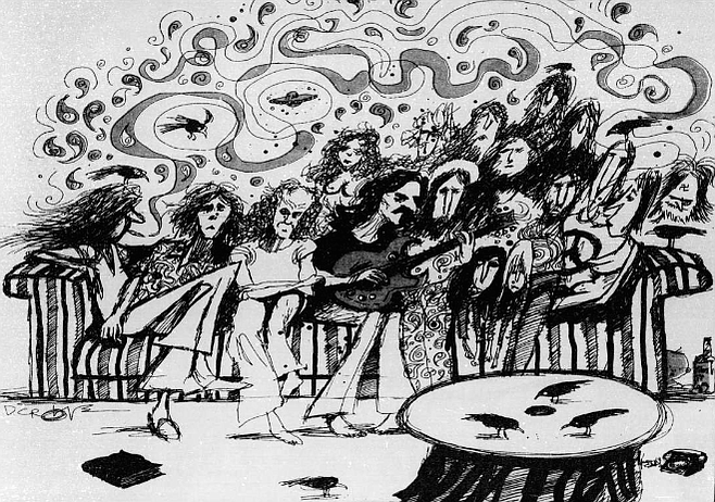 The skeptics among us allowed the group to hold a meeting at our place. The group was a peculiar assortment of scraggly youths, 30ish clerks and salesmen, bookworms of all ages, and pudgy matrons.