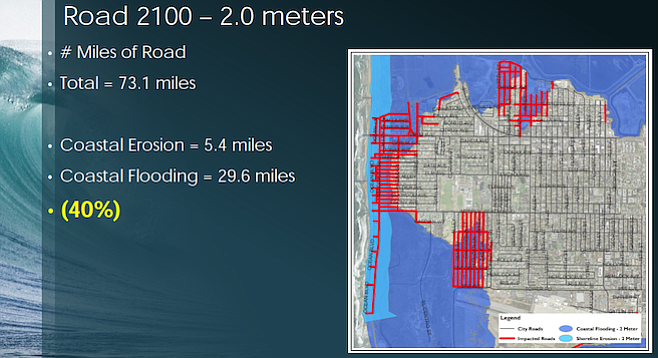 Map of Imperial Beach in 2100 projecting extent of flooded streets