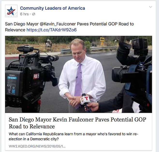 A Faulconer boost from San Francisco public TV station KQED and a Voice of San Diego editor