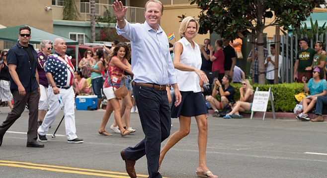 San Diego mayor Kevin Faulconer and his wife Katherine Stuart at the 2014 San Diego LGBT Pride Parade